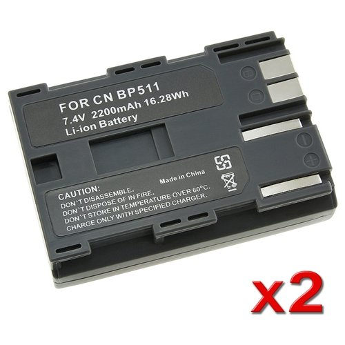 2 PACK 2000mAh Battery for Canon BP-511A BP-511 BP511