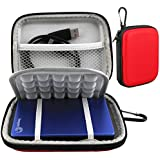 Lacdo Waterproof Hard EVA Shockproof Carrying Case Pouch Bag for Seagate Backup Plus Slim 2TB 1TB 500G / Slim for Mac Mobile Device Backup USB 3.0 / for Toshiba Canvio Basics / Canvio Connect / Canvio Slim II / 2.5 inch Portable External Hard Drive HDD (Red)