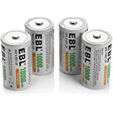 4 Pack EBL D Size D Cell 10,000mah High Capacity High Rate NiMH Rechargeable Batteries, Storage Cased Included