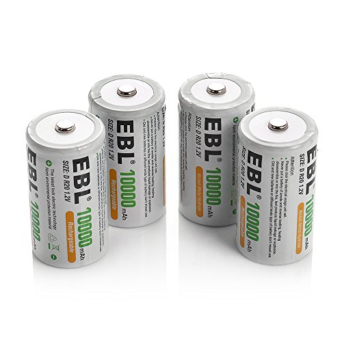 EBL 4 Pack D Size D Cell 10,000mah High Capacity High Rate NiMH Rechargeable Batteries, Storage Cased Included (D Battery Rechargeable compare prices)