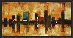 38in x 20in Skyline by Brent Foreman - Black Floater Framed Canvas w/ BRUSHSTROKES