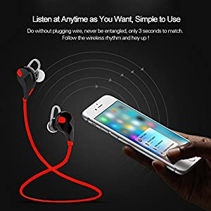 Bluetooth Headsets, SUFUM Wireless Bluetooth Sport Earphones Headphones Headsets with Microphone for iPhone 6, 6 Plus, 5, 5c, 5s, 4 and Android Devices, etc.(Red)