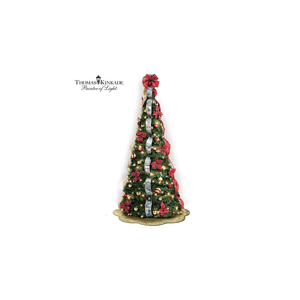Thomas Kinkade Pre Lit Pull Up Christmas Tree Wondrous Winter by The Bradford Exchange