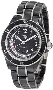 Lucien Piccard Women's 27115BKNUM Celano Mid Size Automatic Diamond Accented Black Grid Dial Black Ceramic Watch
