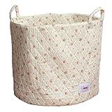 Minene - Cesta de tela, tamaño grande, diseño de flores, color rosa