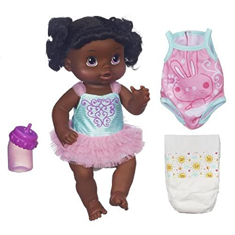 Baby Alive Ready for Ballet Doll (African American) with 2 Outfits, 2 Diapers and Bottle: Drinks and Wets by Hasbro
