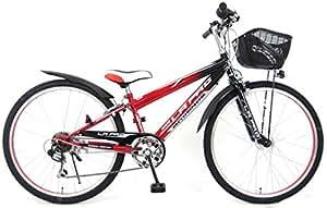 ラパス (LAPAZ) レッド 24インチ シマノ6段変速 2灯LEDオートライト スピードメーター搭載 子供用自転車 キッズサイクル