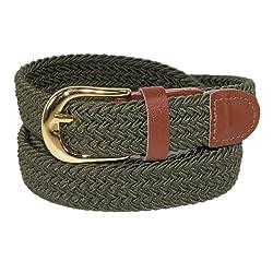 CTM® Womens Elastic Braided Stretch Belt, XL, Olive