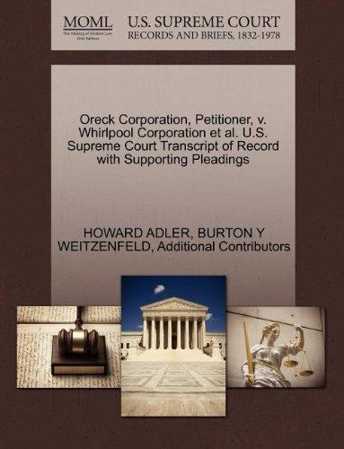 oreck-corporation-petitioner-v-whirlpool-corporation-et-al-us-supreme-court-transcript-of-record-wit