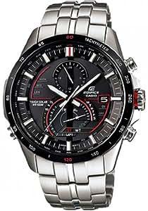 Casio Men's EQSA500DB-1AV Silver Stainless-Steel Quartz Watch with Black Dial