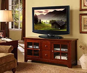 Solid Wood TV Console with Drawers