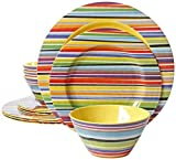 Gibson Studio Line by Laurie Gates 12 Piece Color Celebration Melamine Dinnerware (Set of 4), Multicolor by Gibson Studio