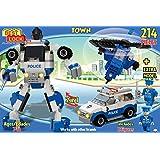 Best Lock 214 Piece Police Robot 2-in-1 Block Set, Multi Color