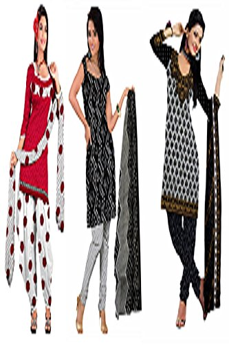 Araham soft crepe / American crepe dress material / unstitched Salwar Suit pack of 3 combo No 613