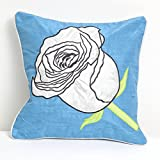 A S Traders Flower Cushion Cover Dupoin Base Fabric with Tafta Green Leaf (40 Cm x 40 Cm, Turquise, Set of 5)