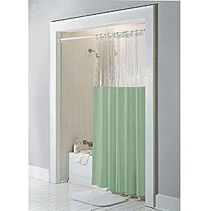 Sage Anti Bacterial Vinyl Window Shower Curtain Home Kitchen