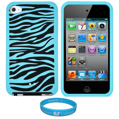 Baby Blue Premium Zebra Design Protective Soft Silicone Skin Cover for Apple iPod Touch 4th Generation + SumacLife TM Wisdom Courage Wristband