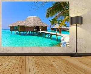 Le de l 39 oc an villa sur pilotis maldives photo papier - Maison sur pilotis maldives ...