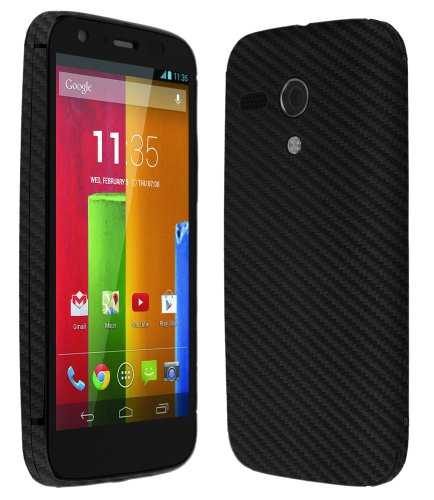 Skinomi® Techskin - Motorola Moto G Screen Protector + Carbon Fiber Black Full Body Skin Protector (4G Lte Compatible) / Front & Back Premium Hd Clear Film / Ultra High Definition Invisible And Anti Bubble Crystal Shield With Free Lifetime Replacement War