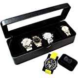 Ikee Design Deluxe Black Faux Leather Watch Case(6 Watches)