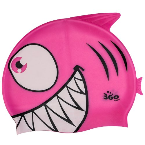 New 360 Junior Fun Swim Silicone Pool Cap Kids Swimming Hat - Flo Fish