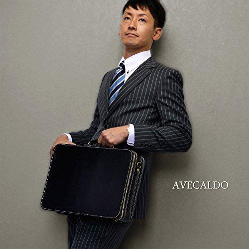 【AVECALDO 牛革 ビジネスバッグ メンズ (ブラック)】AV-J003 レザー アタッシュケース アタッシェ ビジネスバッグ A4 メンズ
