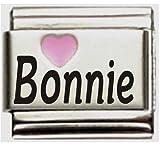 Bonnie Pink Heart Laser Name Italian Charm Link