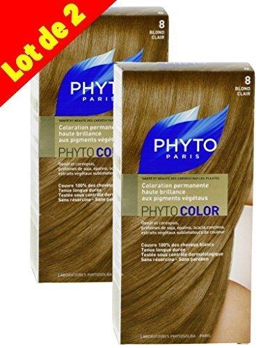 Phyto Color Colorazione Cura permanente ad alta brillantezza alle pigmenti vegetali-Colore: N ° 8: Biondo chiaro-Set di 2