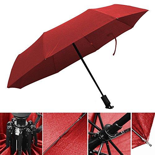 InnooTech Regenschirm Automatischer Taschenschirm Stockschirme mit 96cm Durchmesser für Damen und Herren, Sturmfest Windfest Stabil Klassisch Bordeauxrot -