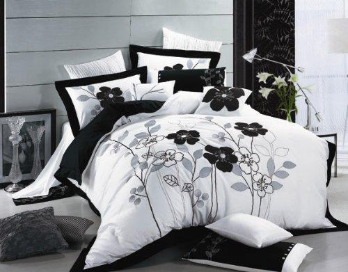 BLACK POPPY Embroidered European Luxury Linens (QUEEN)