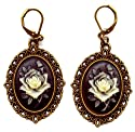 Brass Black and Ivory Roses Cameo Earrings Artist Handmade Antiqued Bronze Gothic Ak180