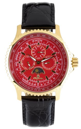 Burgmeister Lyon Bm323-242 Gents Quartz Analogue Wristwatch  Gold Black Leather Strap Red Dial Date Day Month  Day Night