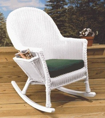 Readers Rocker - Outdoor Wicker NIB (White-Belmont Green) image