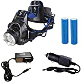 HIAEFIRE Waterproof 3 Mode CREE XM-L T6 U2 LED 1800LM Headlamp+ 2 X 6800 mAh 18650 Rechargeable Battery + Direct Charger + Car Charger