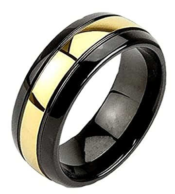King Will Mens 8mm Black Tungsten Carbide Ring Wedding Band Domed High Polished 24k Gold Plated Center