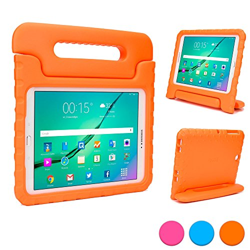 Samsung Galaxy Tab S2 9.7 kids case, COOPER DYNAMO Rugged Heavy Duty Children's Boys Girls Toy Tough Drop Proof Protective Carry Case Cover + Handle, Stand & Screen Protector for SM-T810 T815 Orange (Old Book Case For Samsung Tablet compare prices)