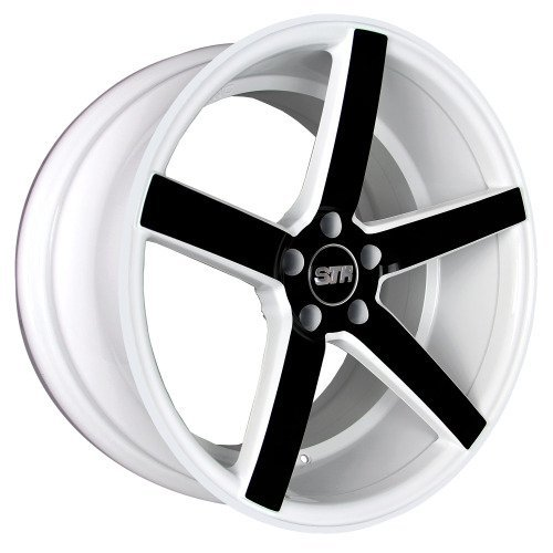 WHITE + BLACK STR 607 17X9 +15 5X114.3 RIM FIT TC XB TSX RSX MR2 CIVIC MUSTANG GT (Str Rims 17 Inch compare prices)