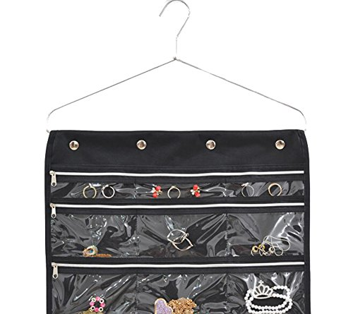misslo 44 pockets oxford hanging jewelry organizer with zipper hanger black health beauty. Black Bedroom Furniture Sets. Home Design Ideas