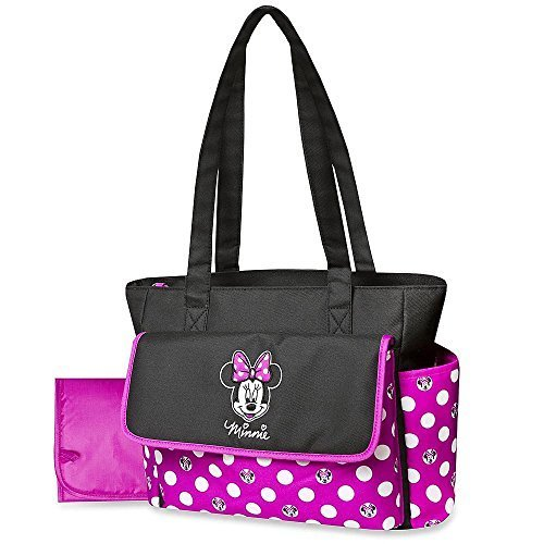 Disney Minnie Mouse Diaper Bag & Changing Pad - Polka Dots, Lightweight Travel Tote, Baby Bottle Pockets - 1