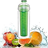 Finest™ Water Bottle Fruit Infuser - Tritan - Sport Water Bottle With Leak Proof Flip Top - BPA Free Great For...