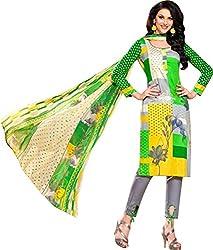 Sanvan Green Design Print Cotton Silk Salwar Suit Material