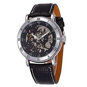 GBI Men's Business Luxury Skeleton PU Leather Automatic Mechanical Wrist Watches-Black