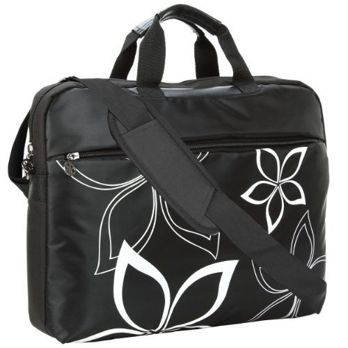 17 inch Black Contour Flowers Floral Print Laptop