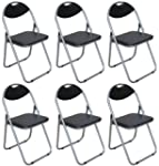 Pack of 6 Chairs - Black Padded Foldi...