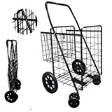 Folding Shopping Cart with Double Basket- Jumbo size 150 lb Capacity Black