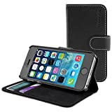 Snugg iPhone 5 / 5S Leather Flip Case in Black - Flip Wallet case with Card Slots, Stand and Premium Nubuck Fibre Interior for the Apple iPhone 5 / 5S