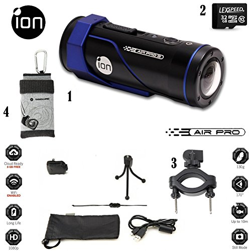 iON-AIR-PRO-3-Wi-Fi-Full-HD-1080p-60fps-12MP-Wearable-Sports-Action-Video-Camcorder-32GB-Complete-System-Mount-Pack-SKins-Bike-Mount