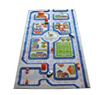 Little Helper IVI Exclusive Thick 3D Childrens Play Mat & Rug in a Colourful Town Design with 3 Dimensional Football Pitch, Car Park & Roads, Blue (80 x 150cm)