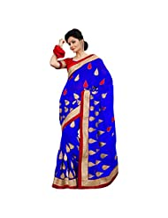 Amazing Blue Colored Embroidered Faux Georgette Saree By Triveni