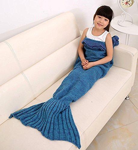 LanMing Meerjungfrau Decke , TV-Decke ,(Hand-woven) Meerjungfrau Schwanz Decke Kinder und Erwachsene Stil, (Kids Style,Blue)